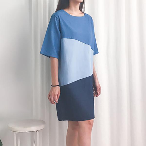 成熟俐落拚色洋裝,JEANSWE,春夏,舒適,休閒,拼接