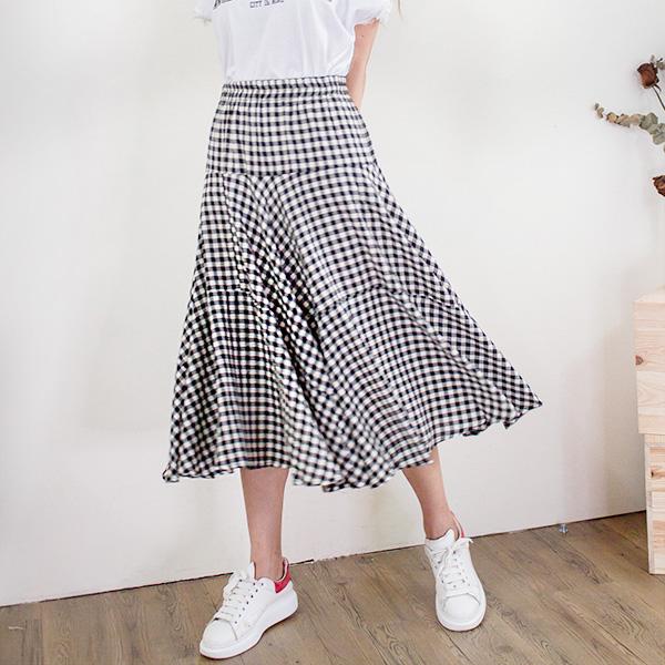 黑白格紋棉麻長裙