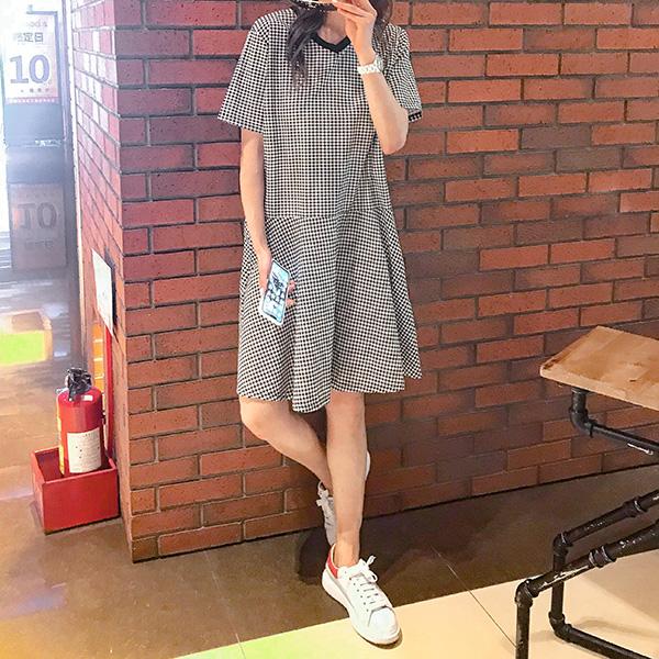 素雅黑白格洋裝