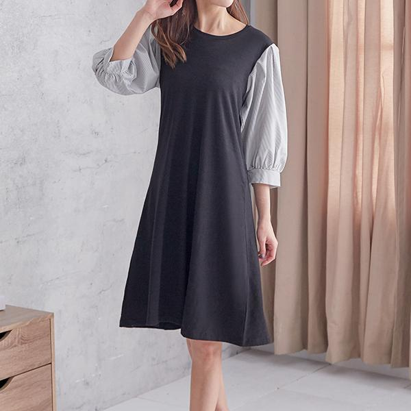 美若天仙條紋拼接洋裝,JEANSWE,春夏,氣質,優雅,中大尺碼