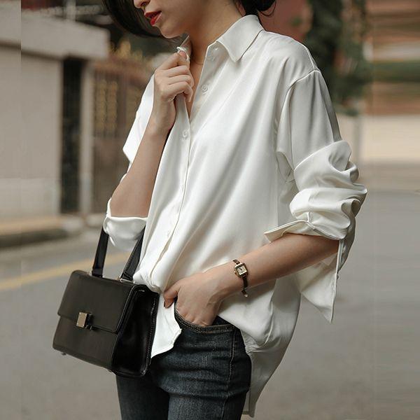 絲光緞面寬鬆襯衫