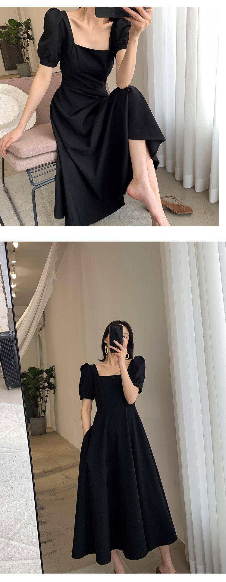 方領短袖氣質洋裝