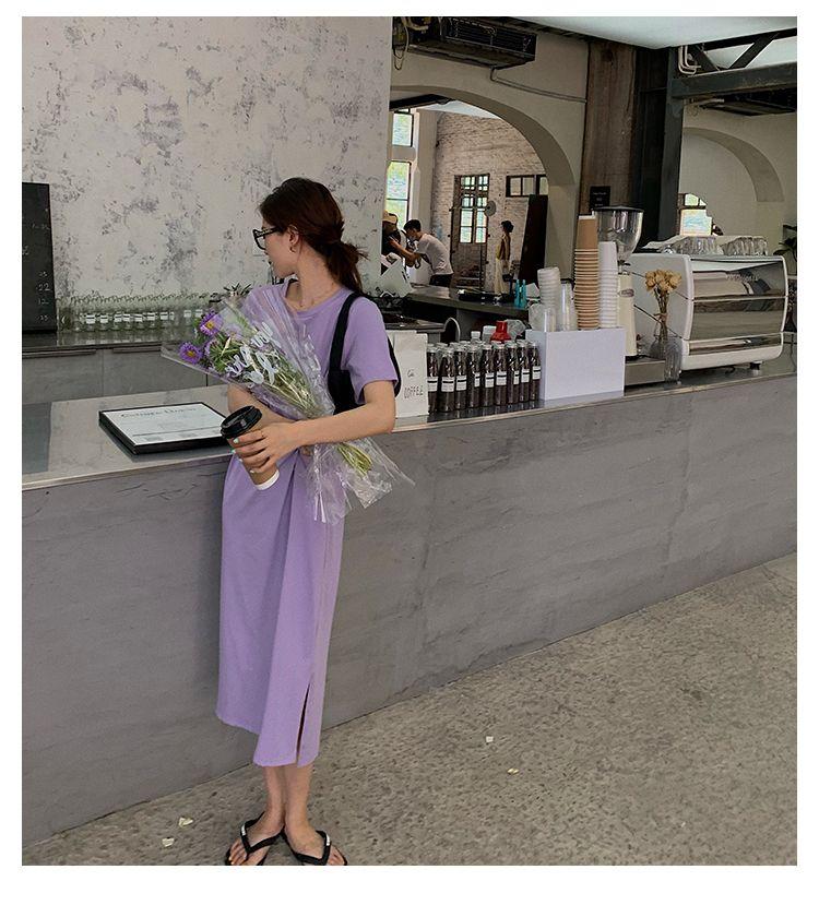 高腰顯瘦扭結設計洋裝