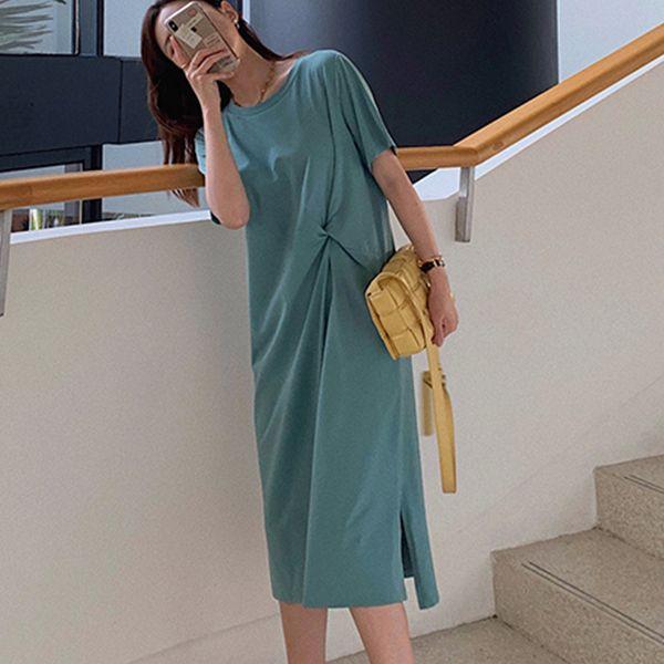 高腰顯瘦扭結設計洋裝,MISS ROSSY,百搭,中大尺碼,MISS ROSSY,1O-TD04161