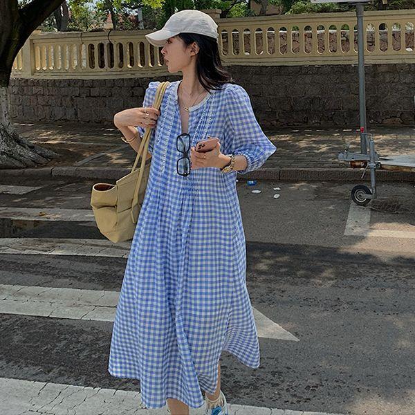 法式復古泡泡袖清新洋裝,MISS ROSSY,百搭,格紋,中大尺碼,MISS ROSSY