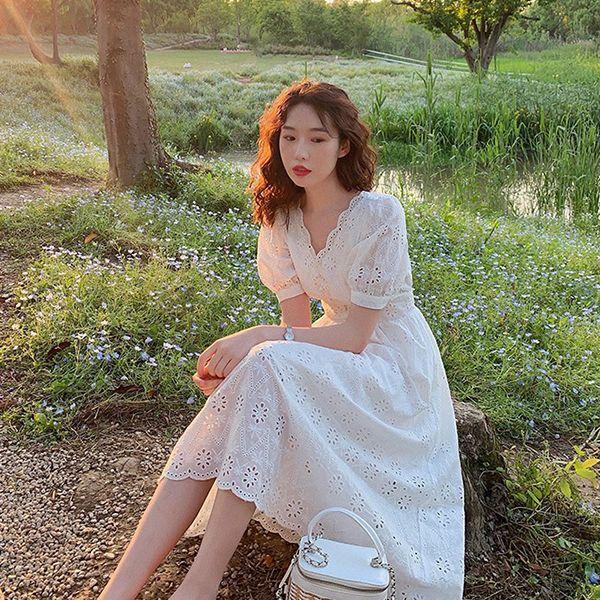 法式仙女鏤空長洋裝