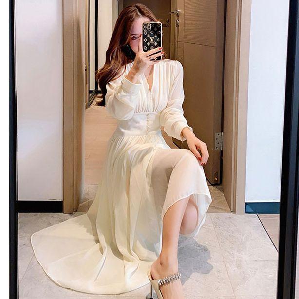 典雅女神珍珠紗洋裝