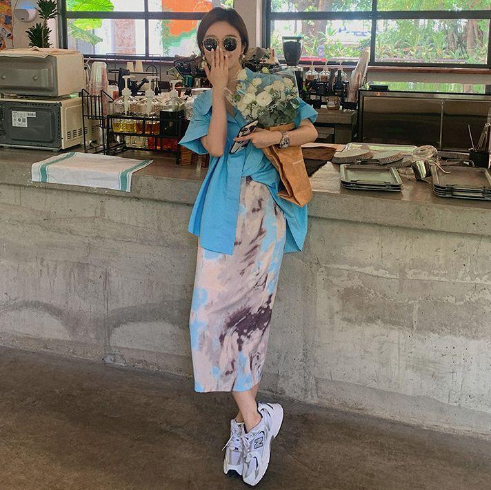莫蘭迪油畫風高腰長裙
