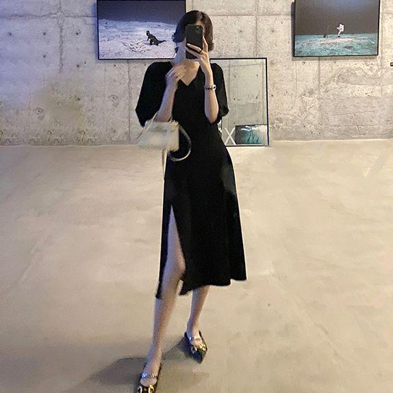 性感風采V領黑洋裝