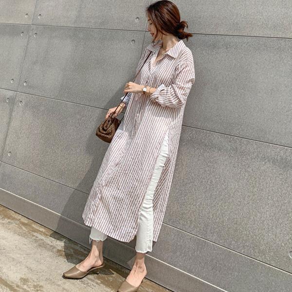 寬鬆個性條紋襯衫式外套